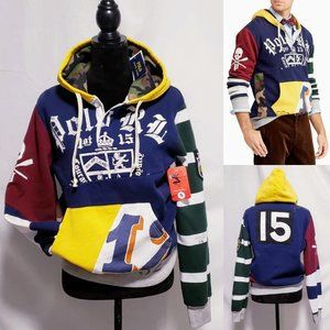 Polo by Ralph Lauren Shirts - 🆕Polo Ralph Lauren Patchwork Rugby Hoodie S🦅